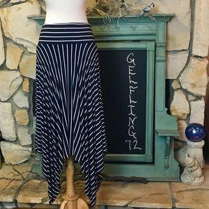 CAbi Striped Asymmetrical Twirl Skirt